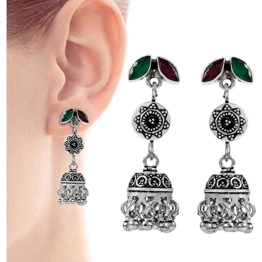 Stylish Design !! 925 Sterling Silver Green Onyx, Ruby Earrings