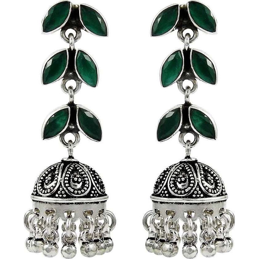 Royal Color !! 925 Sterling Silver Green Onyx Earrings