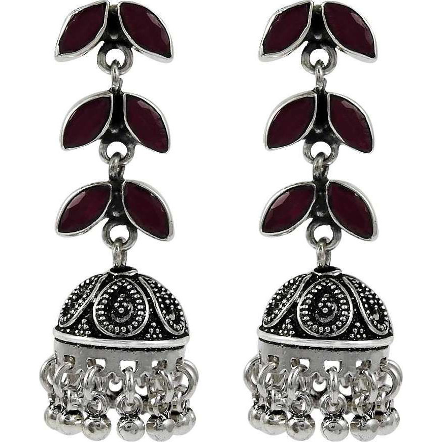 New Fashion !! 925 Sterling Silver Ruby Jhumka