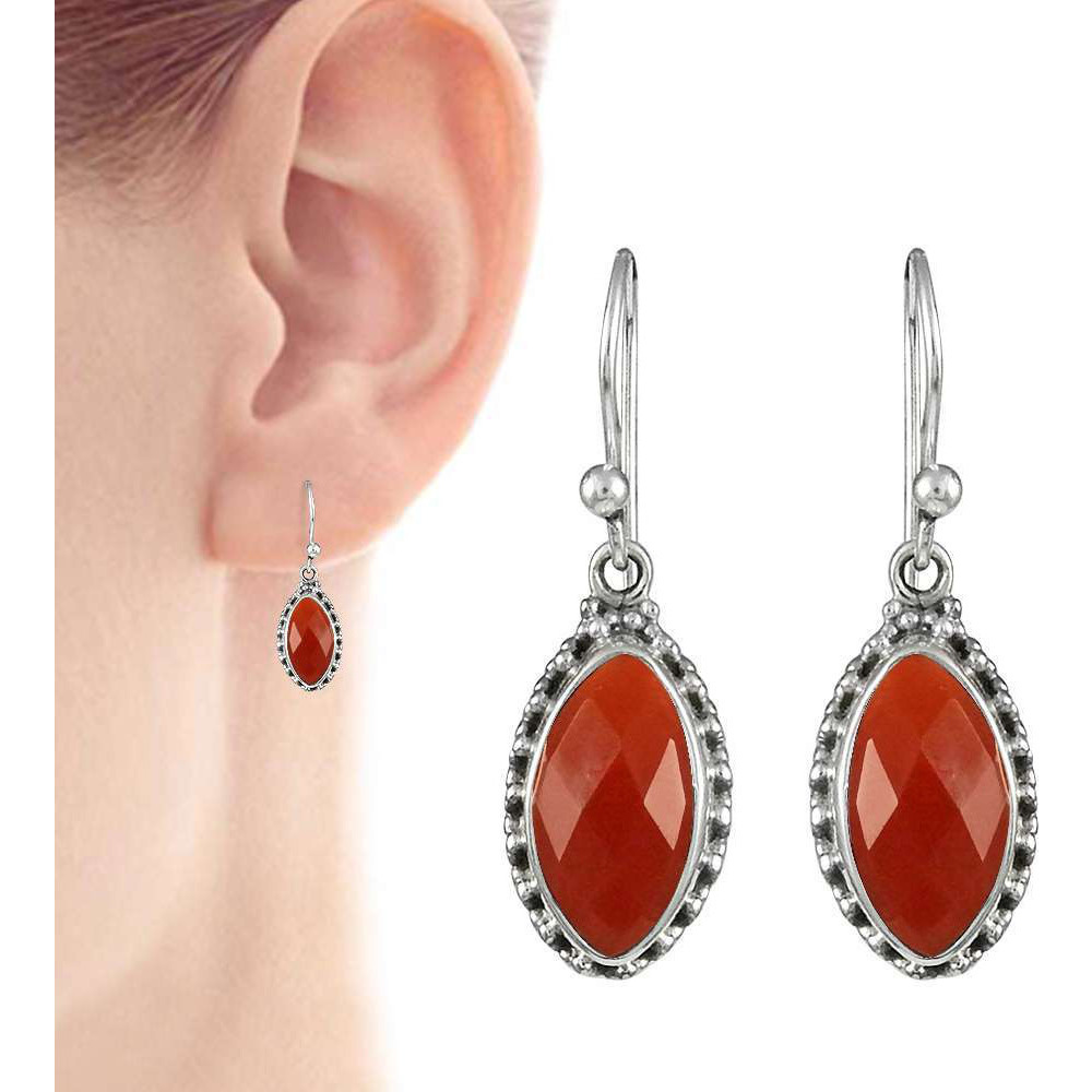 Beauty in Queen! 925 Sterling Silver Carnelian Earrings