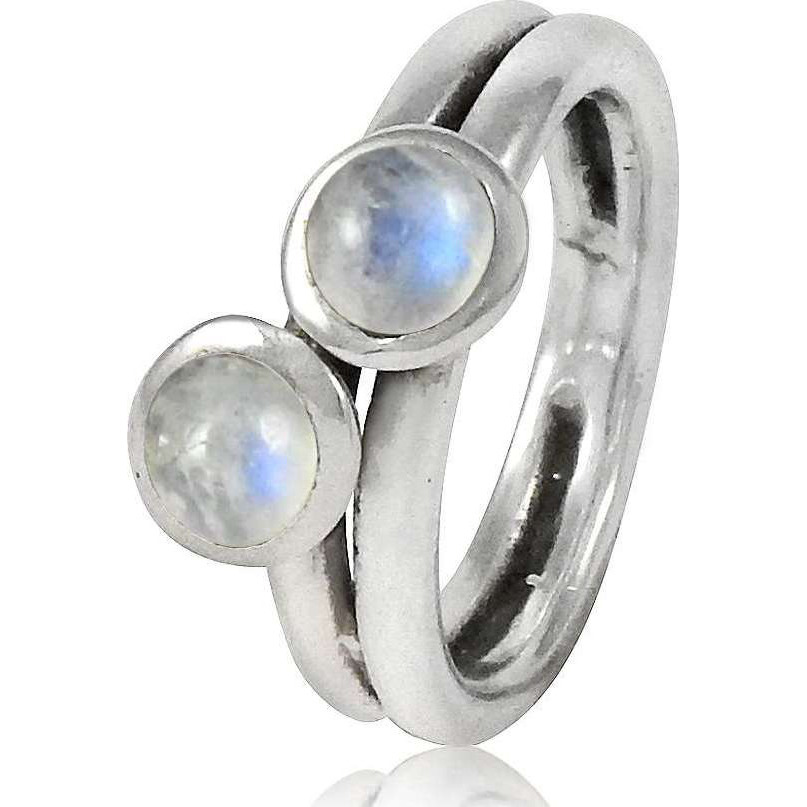 Secret! 925 Sterling Silver Rainbow Moonstone Ring