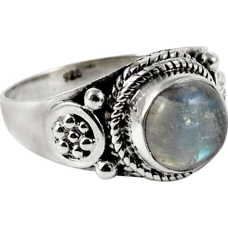 Fantasy! 925 Sterling Silver Rainbow Moonstone Ring