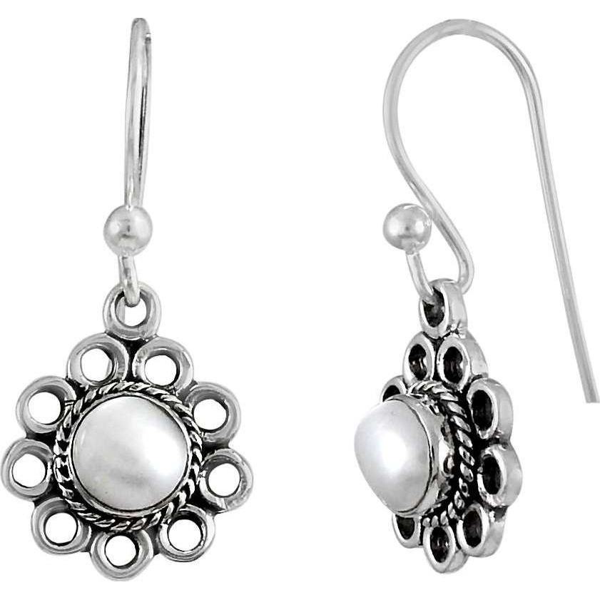 Created ! 925 Sterling Silver Pearl Earrings