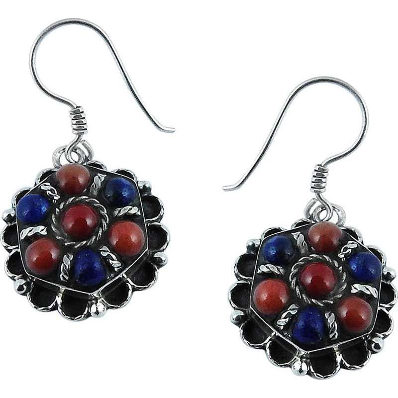 Huge Modern Style!! 925 Silver Coral, Lapis Earrings