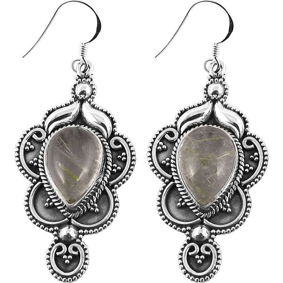 Amazing Design!! 925 Silver Golden Rutile Earrings