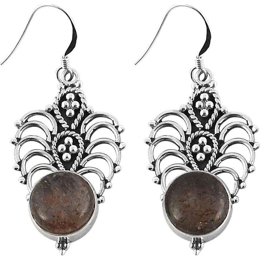 Big Natural Top !! Real Sunstone 925 Sterling Silver Earrings