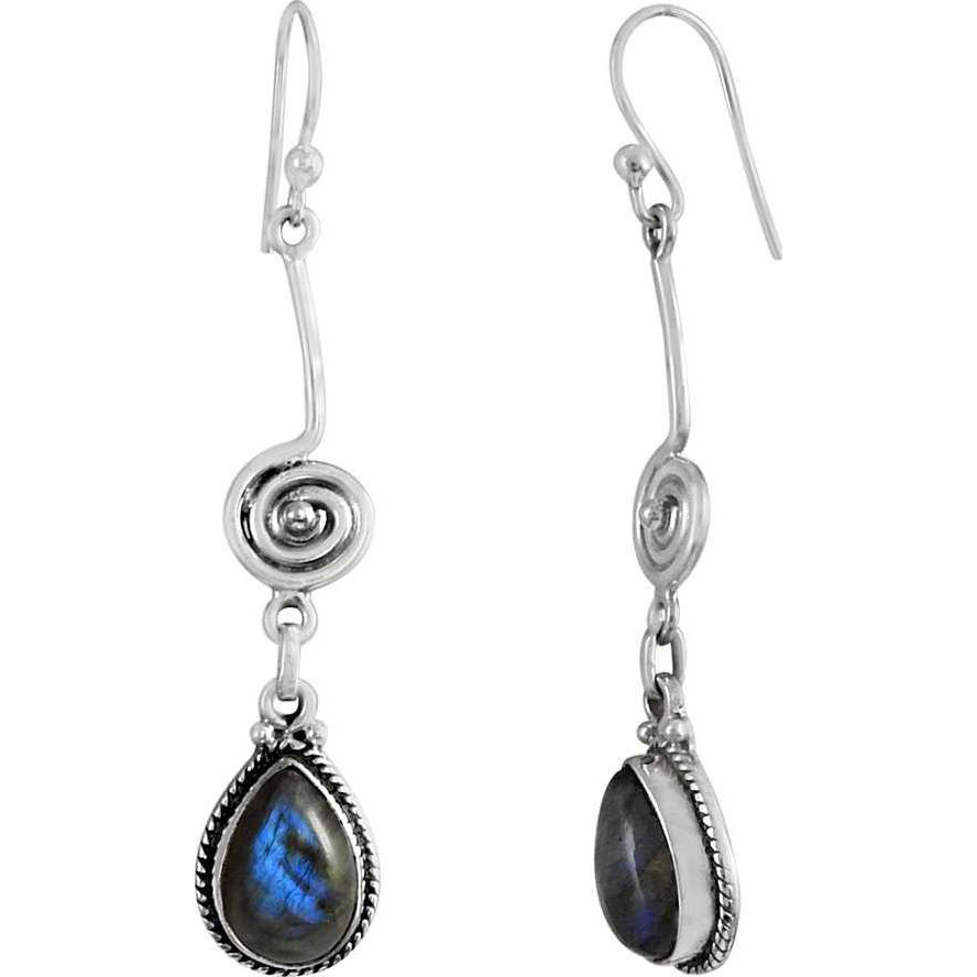 Natural Beauty ! 925 Sterling Silver Labradorite Earrings