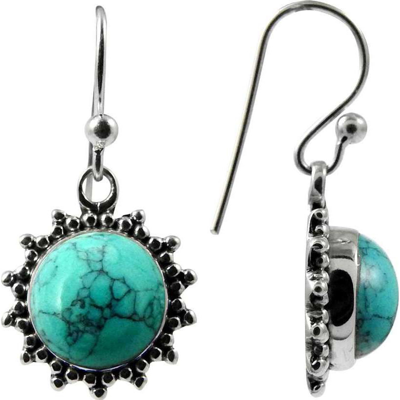 Big Weaving Light ! Turquoise 925 Sterling Silver Earrings