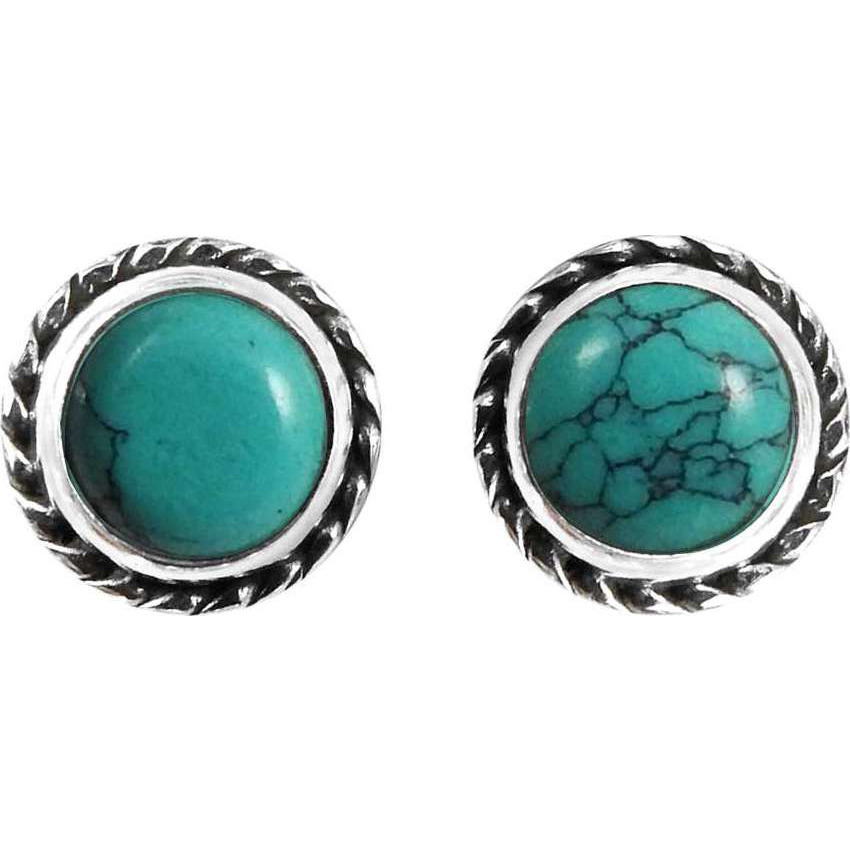 Big Fabulous !! 925 Sterling Silver Turquoise Stud Earrings