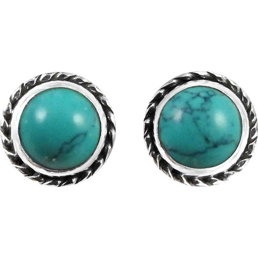 Awesome Style Of !! 925 Sterling Silver Turquoise Stud Earrings