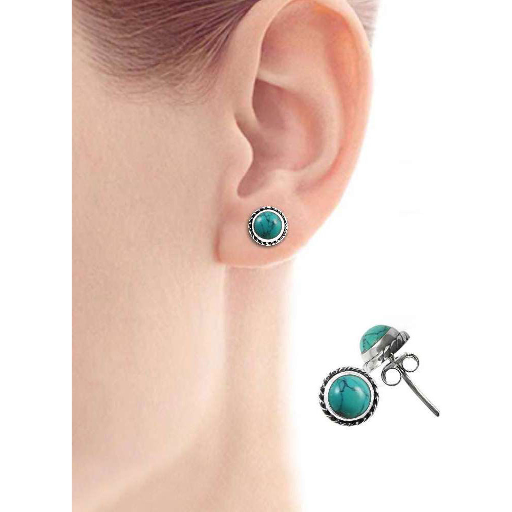 Stylish !! 925 Sterling Silver Turquoise Stud Earrings