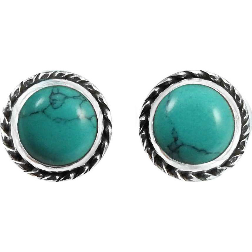 Gorgeous Design !! 925 Sterling Silver Turquoise Stud Earrings