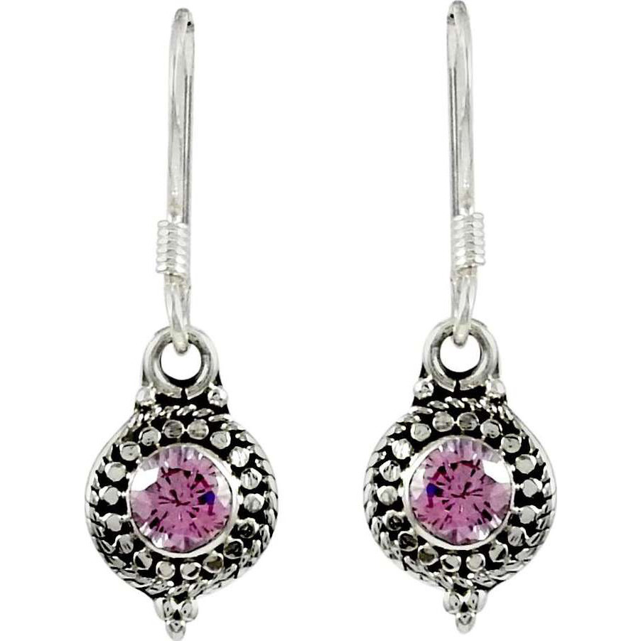 Exclusive ! 925 Sterling Silver CZ Pink Earrings