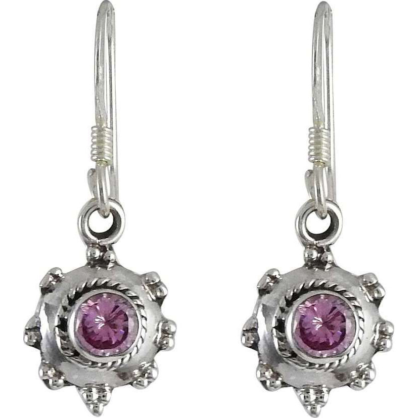 Big Special Moment! 925 Silver CZ Pink Earrings