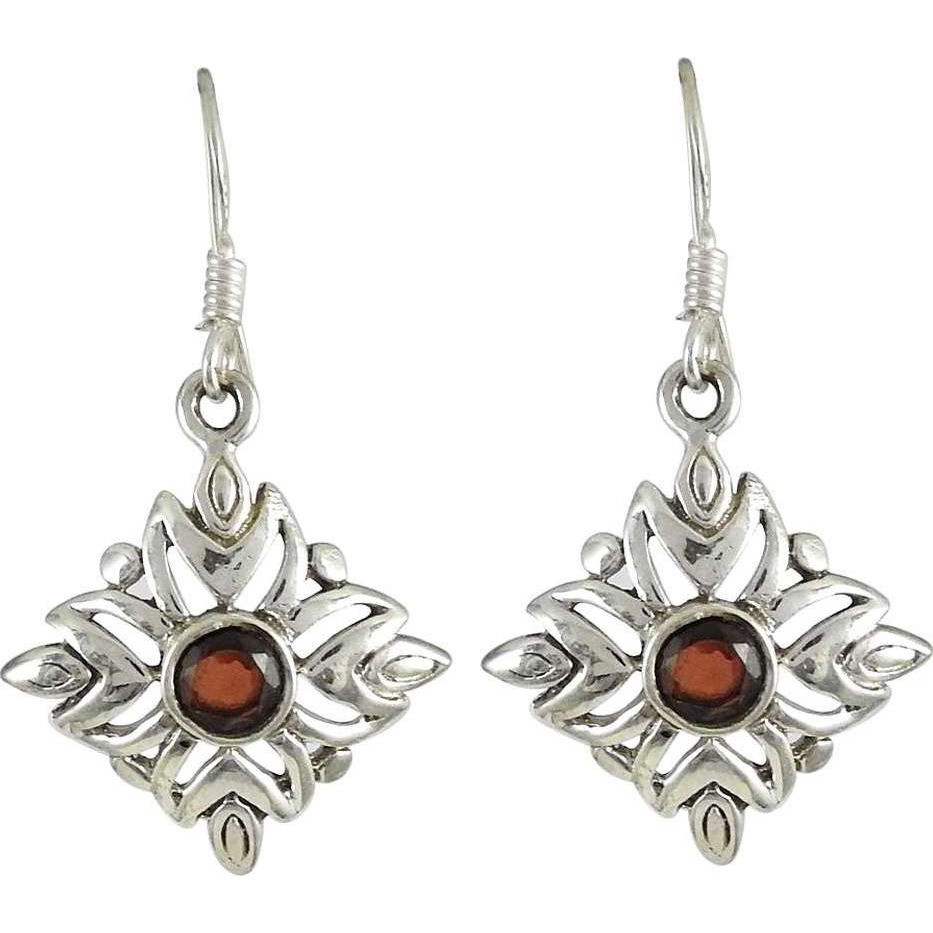 Franqipani Queen! 925 Silver Garnet Earrings