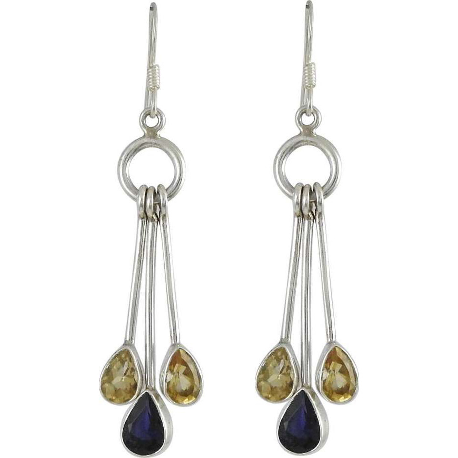 New Design! 925 Silver Iolite, Citrine Earrings