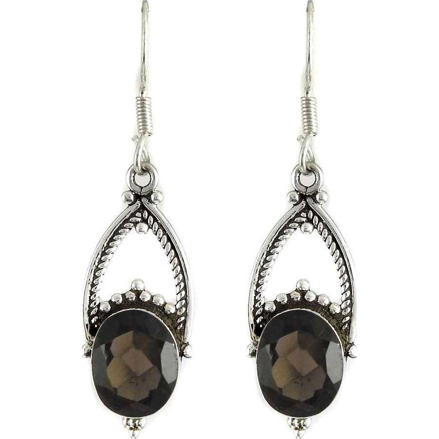 New Exclusive Style! 925 Sterling Silver Smoky Quartz Earrings
