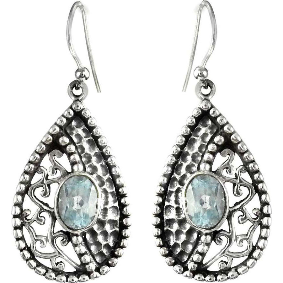 Circle Of Love!! Blue Topaz 925 Sterling Silver Earrings