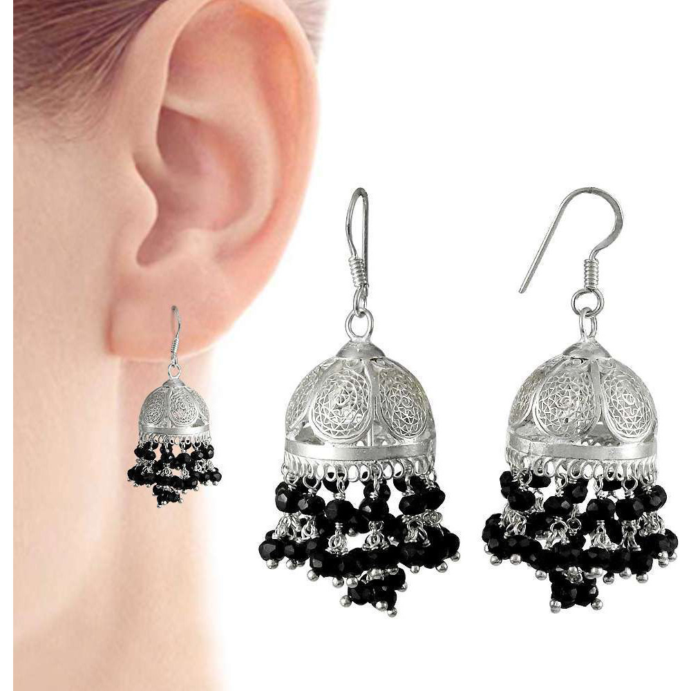 Kiss !! 925 Sterling Silver Black Onyx Jhumki