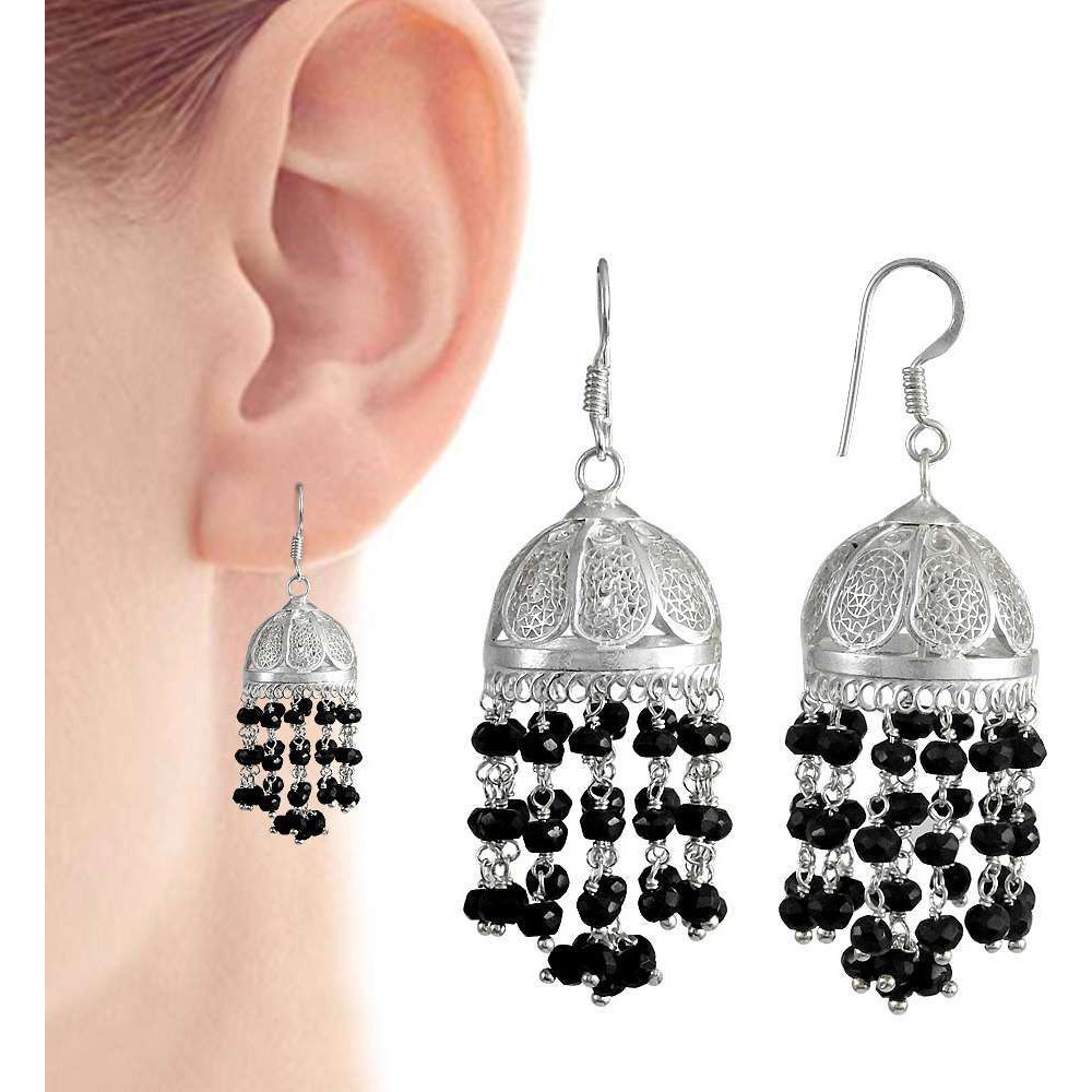 New Style Of !! 925 Sterling Silver Black Onyx Jhumki
