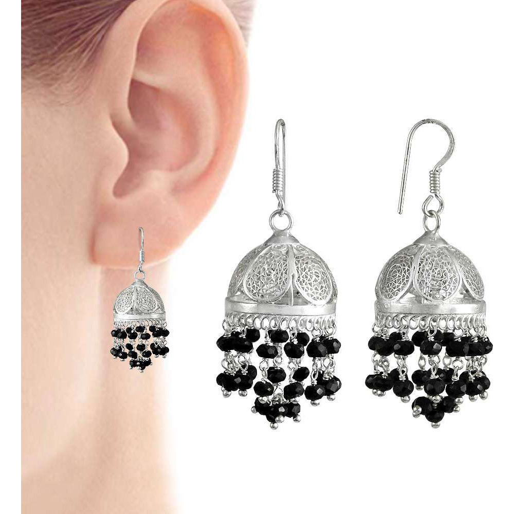 Gorgeous Design !! 925 Sterling Silver Black Onyx Jhumki