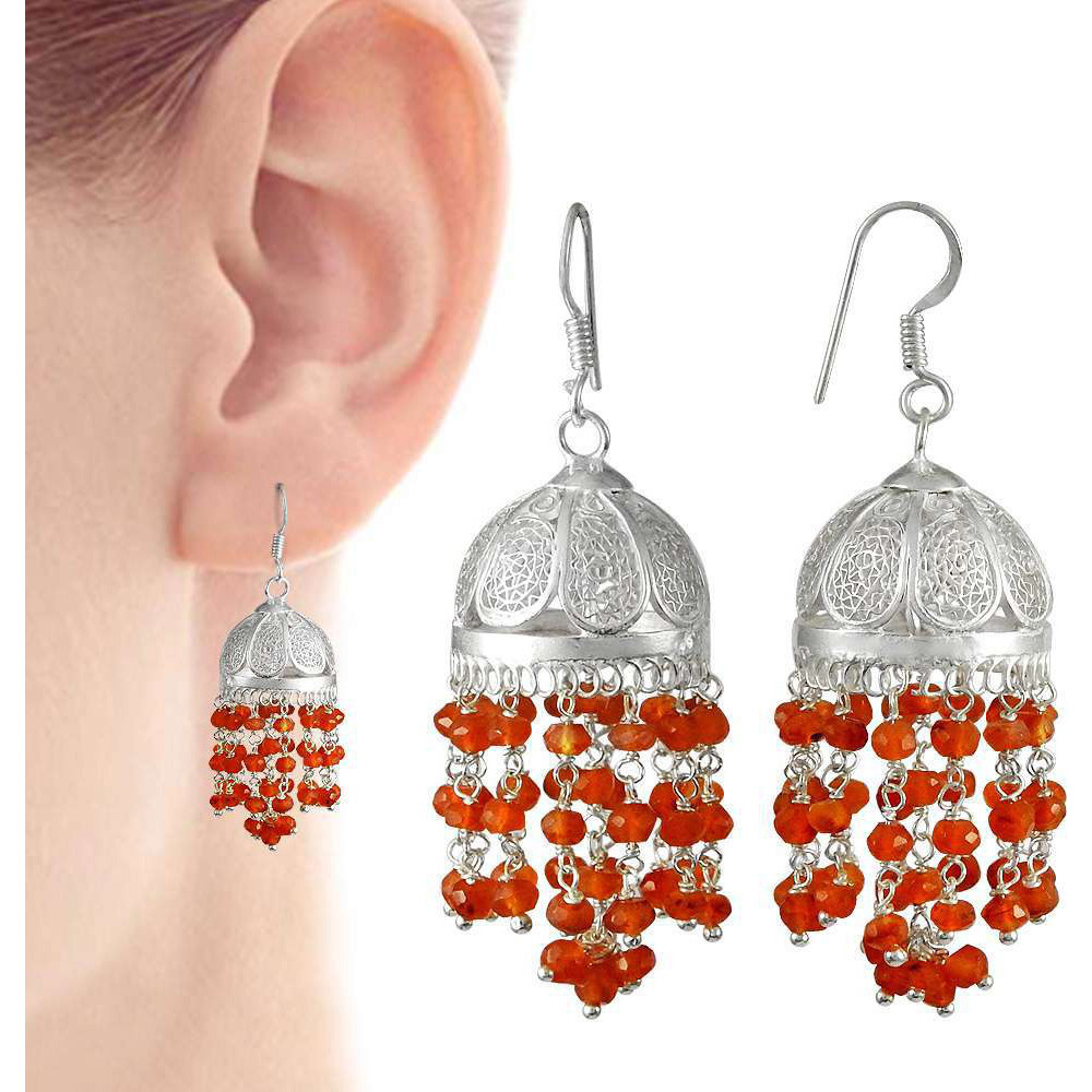 Stylish !! 925 Sterling Silver Carnelian Jhumki