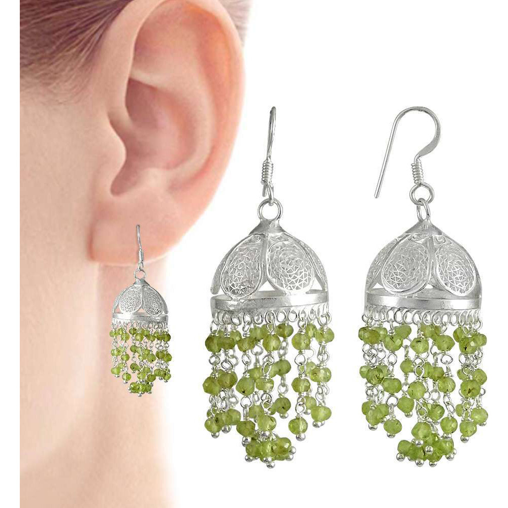 New Faceted !! 925 Sterling Silver Prehnite Jhumki