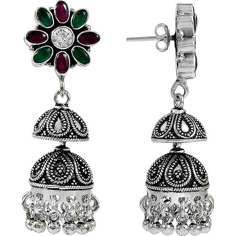 Draditions !! 925 Sterling Silver Green Onyx, White CZ, Ruby Earrings