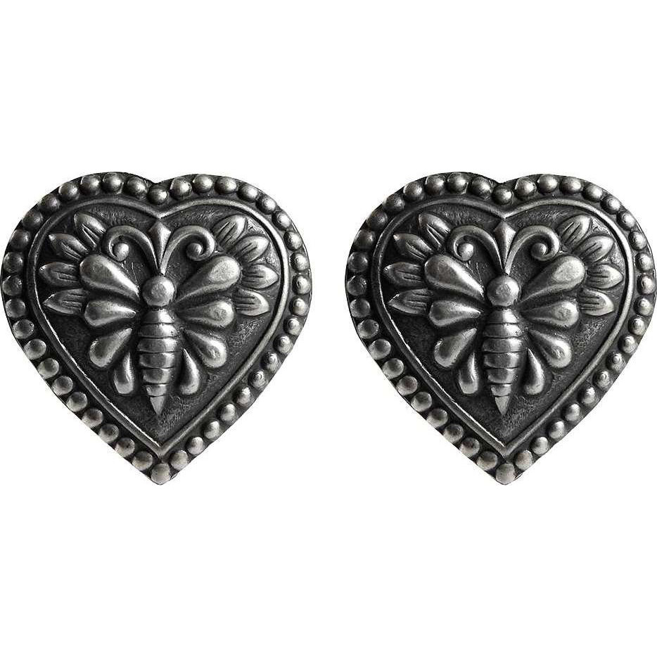 Heart Shape Butterfly Design 925 Sterling Silver Studs