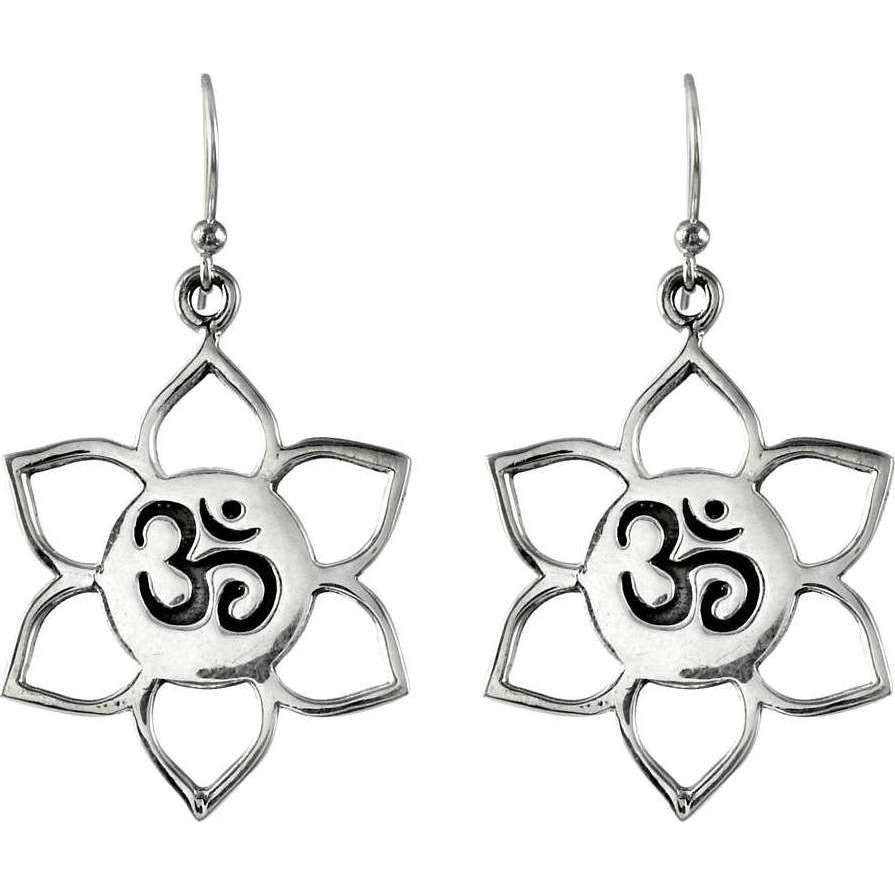 Flower Design !! 925 Sterling Silver OM Earrings