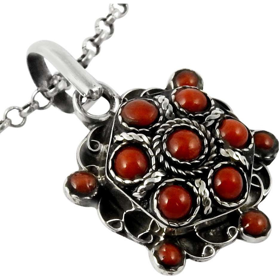 Jumbo Fantastic!! Coral 925 Sterling Silver Pendant