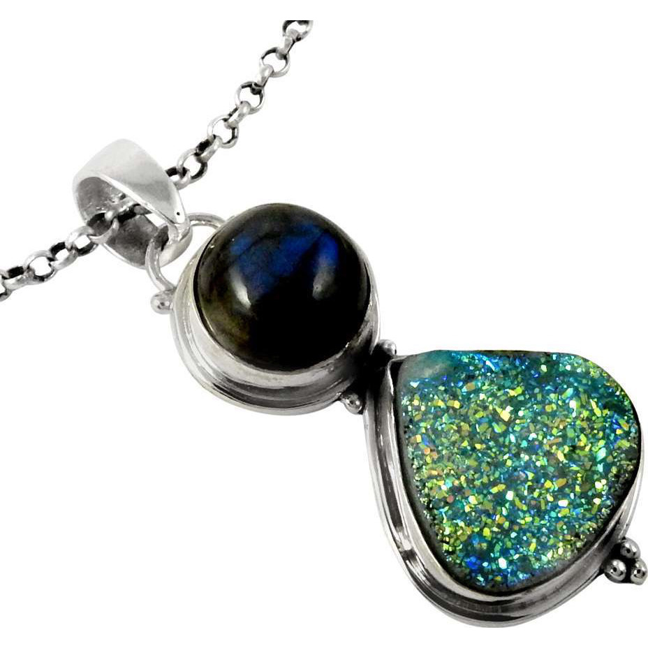 Stunning Natural Rich! Drusy, Labradorite 925 Sterling Silver Pendants