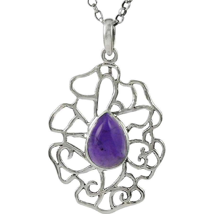 New Design ! 925 Sterling Silver Amethyst Pendant