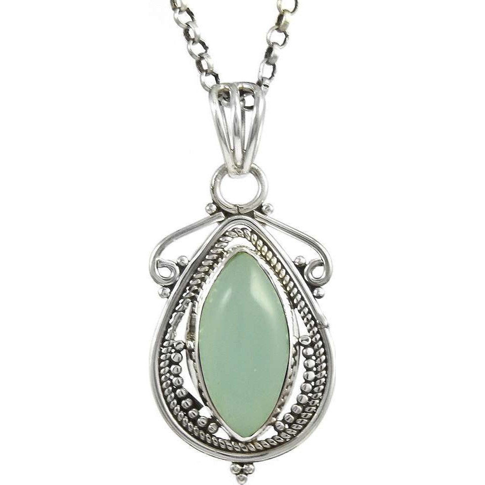 Delicate Light !! 925 Sterling Silver Chalcedony Pendant