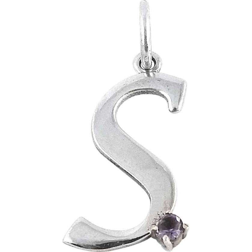 Beautiful Amethyst Gemstone 925 Sterling Silver S Letter Pendant