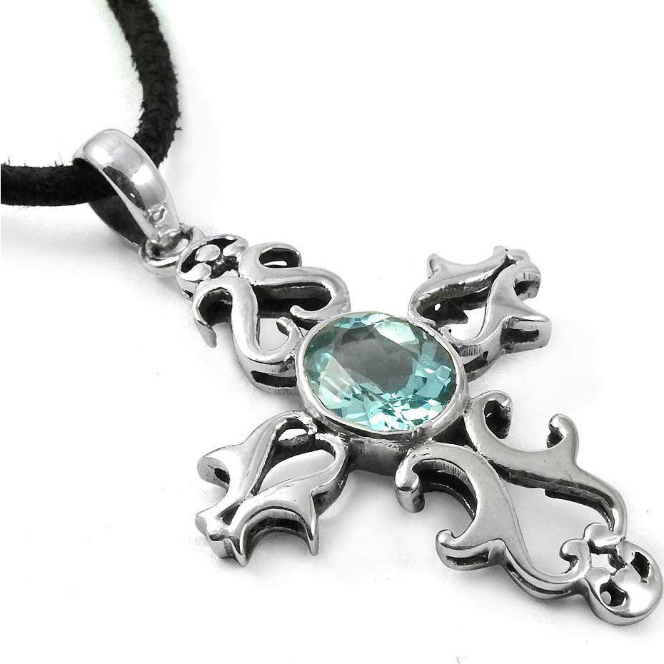 Awesome 925 Silver Blue Topaz Pendant