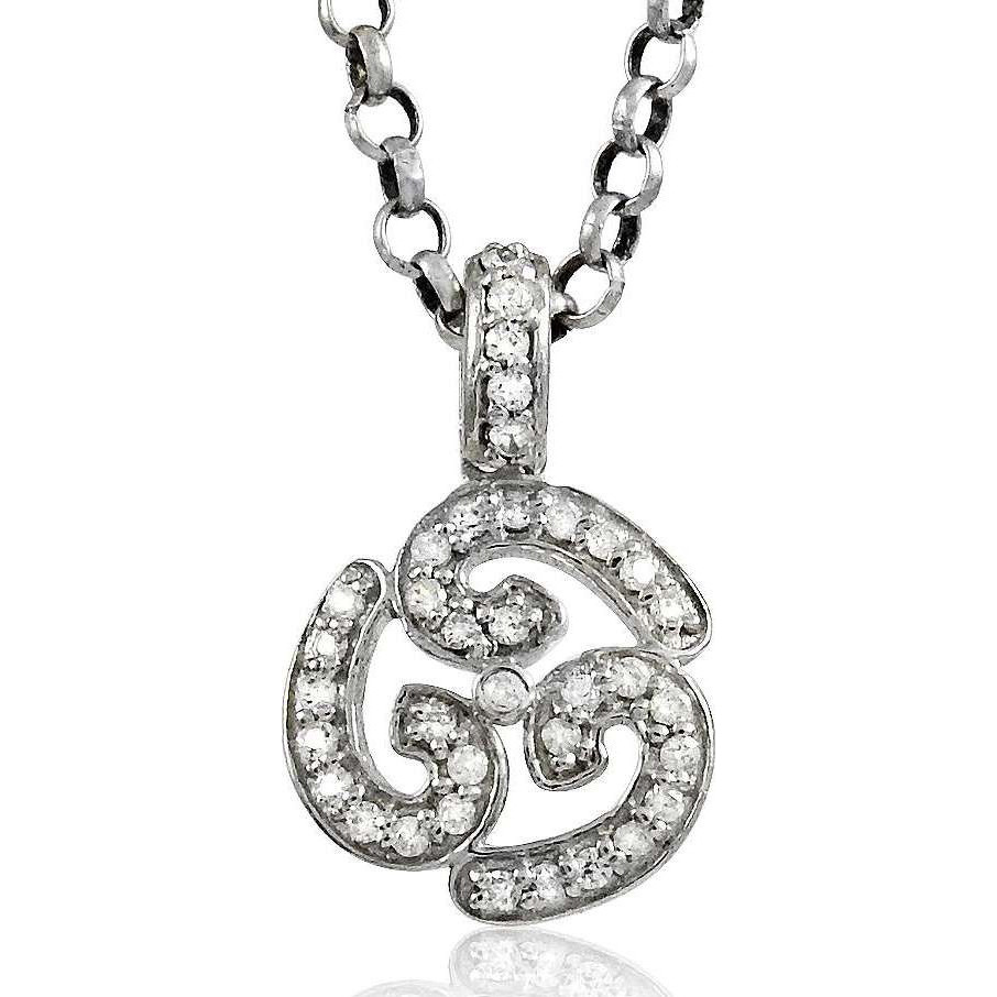 Simple ! 925 Sterling Silver White CZ OM Pendant