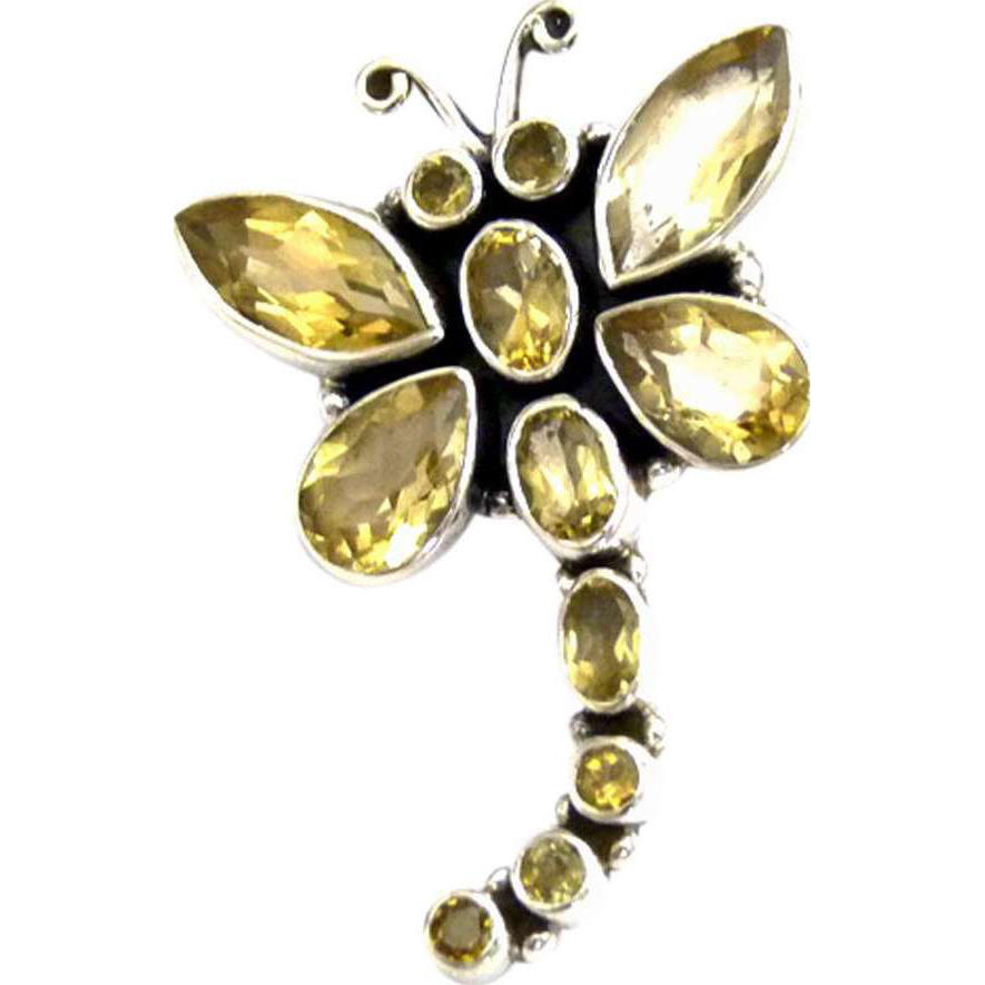 Butterfly 925 Sterling Silver Citrine Pendant