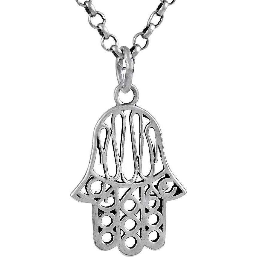 Abstract ! 925 Sterling Silver Hamsa Pendant