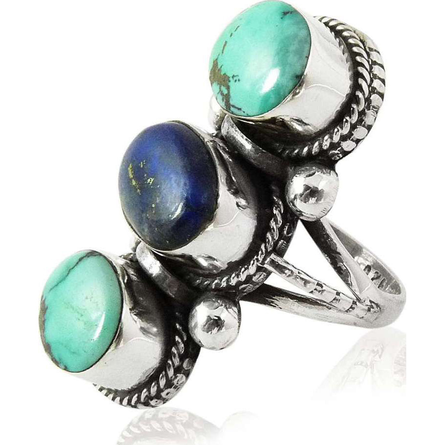 High Work Quality! 925 Silver Turquoise, Lapis Ring Wholesale