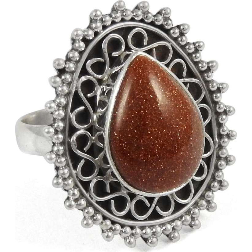Exclusive ! 925 Sterling Silver Red Sunstone Ring
