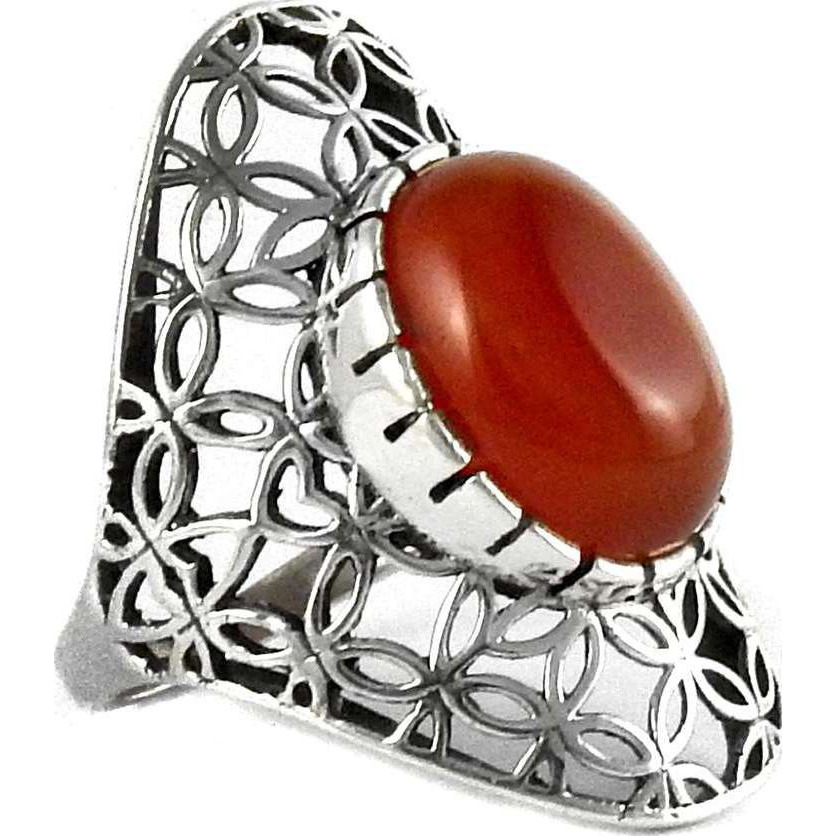 Simple! Orange Carnelian 925 Silver Ring