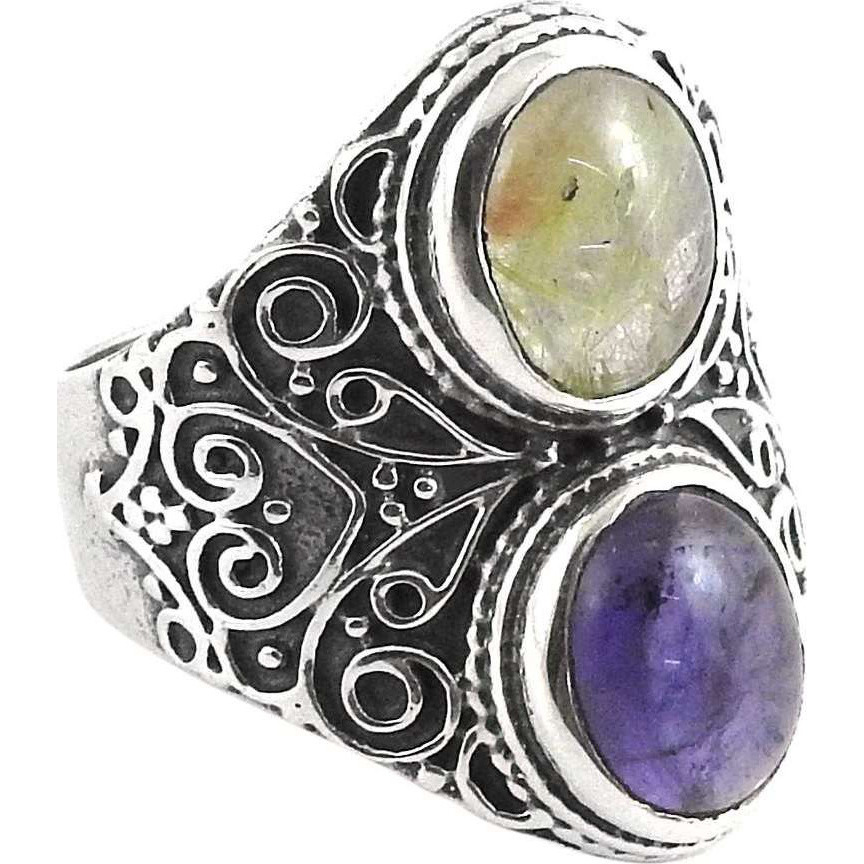 Huge Modern Style! 925 Silver Amethyst, Golden Rutile Ring