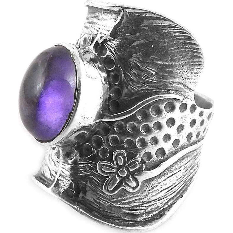 High Work Quality! 925 Silver Amethyst Ring