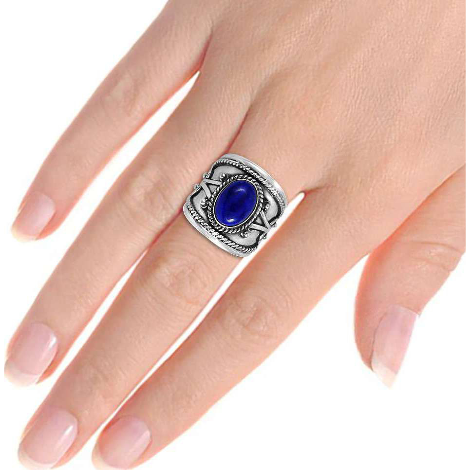 New Design!! Lapis 925 Sterling Silver Rings