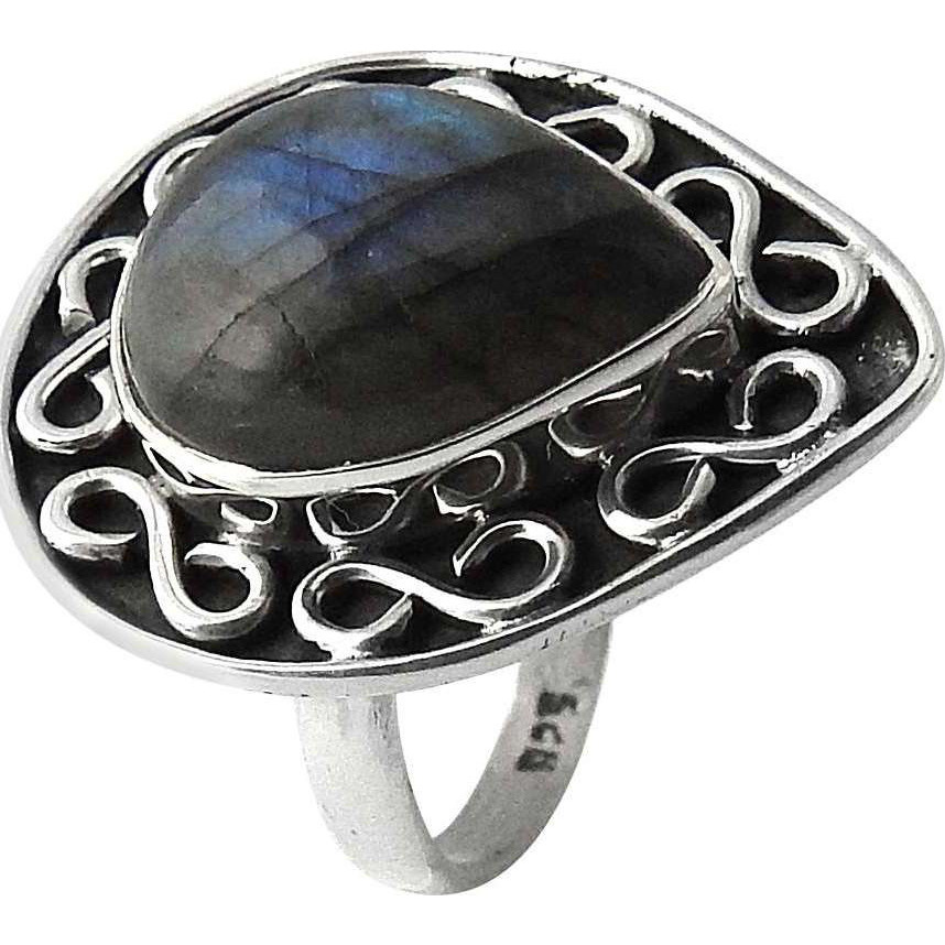 Secret Design ! 925 Sterling Silver Labradorite Ring