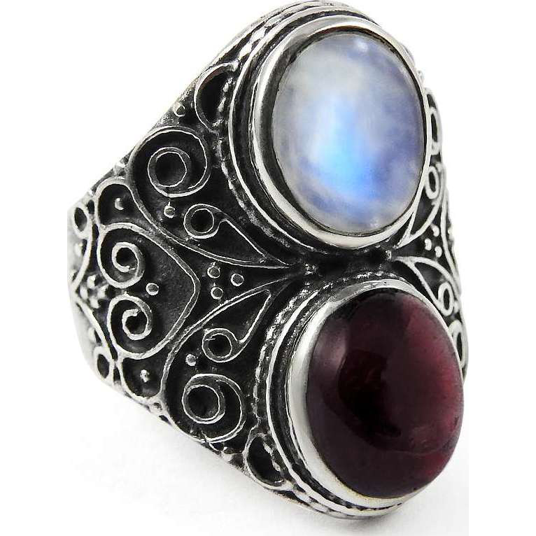 Stunning!! Rainbow Moonstone, Garnet 925 Sterling Silver Ring