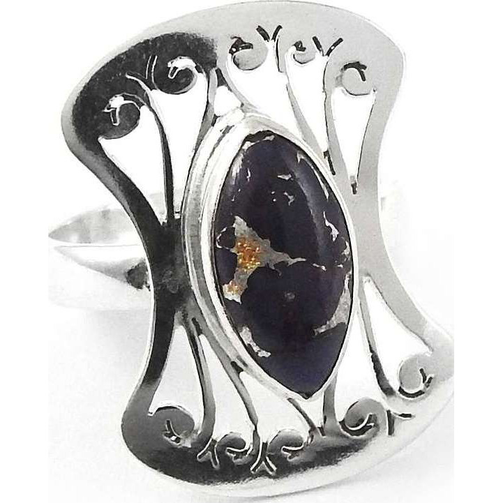 Passionate Modern Style Of ! 925 Sterling Silver Purple Copper Turquoise Ring