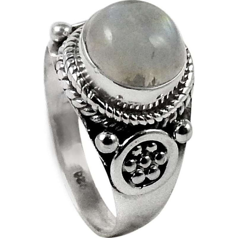 Modern Style!! Rainbow Moonstone 925 Sterling Silver Ring