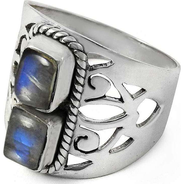 Classy Design ! 925 Sterling Silver Rainbow Moonstone Ring